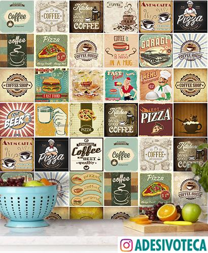 Adesivo Azulejo Mix Food Retrô
