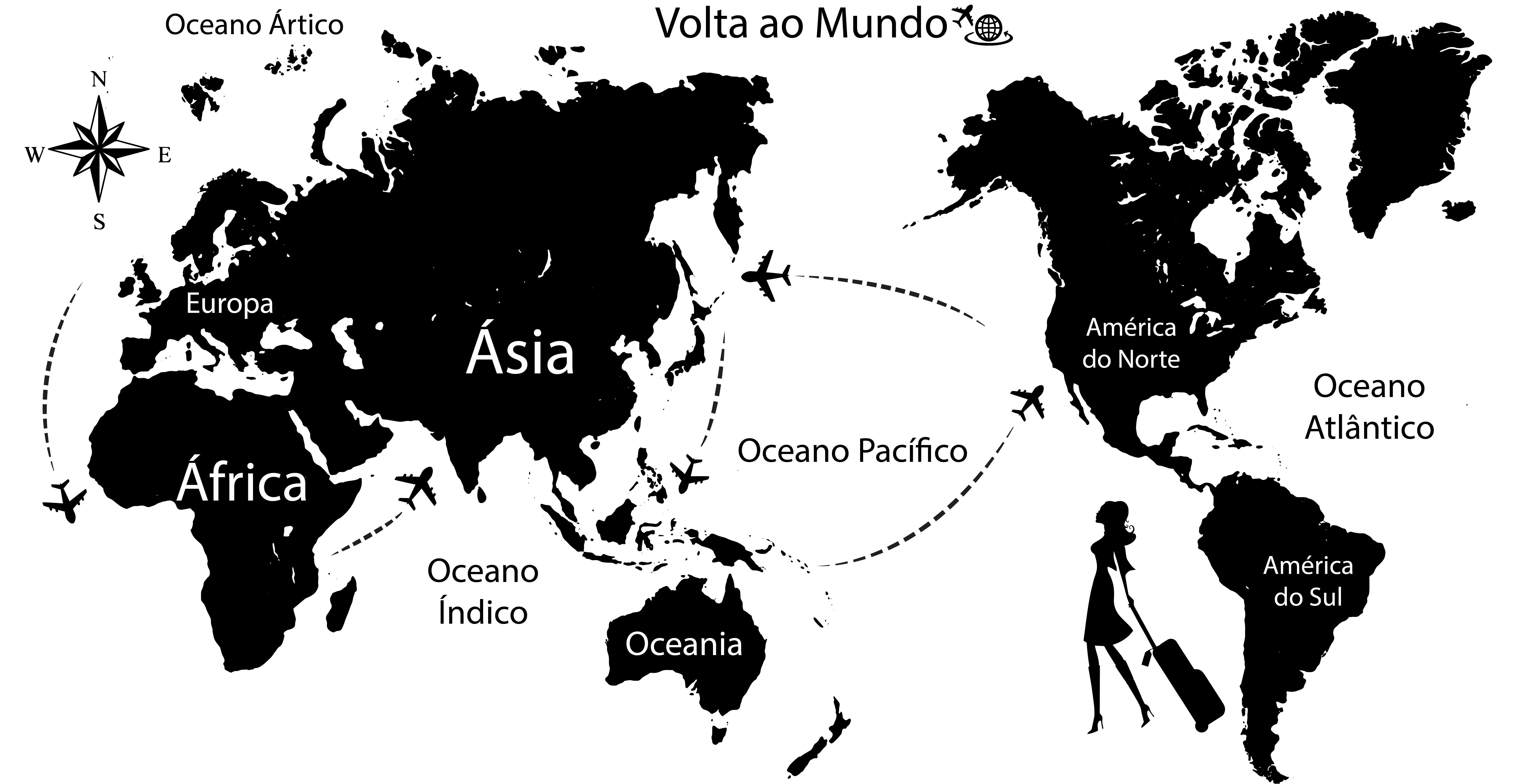 Mapa Mundi Volta ao Mundo  Adesivoteca  Quarto sala Infantil